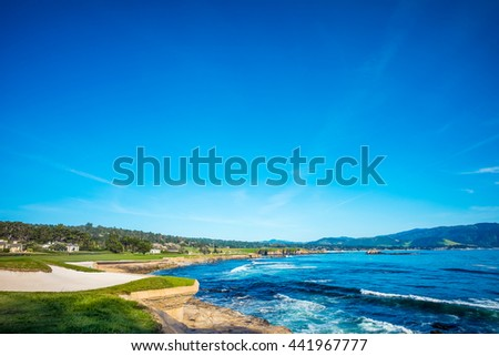 Sea Side Next To Pebble Beach Golf Course 18th Hole Green & Bunker #441967777