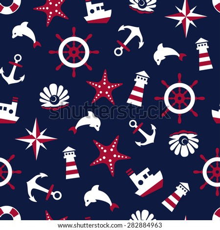 Sea signs on a blue background seamless pattern