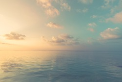 Sea sky clouds, horizon, horizontal background banner