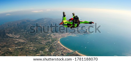 Sea skydive background. Man jumps with parashute  Stock photo ©