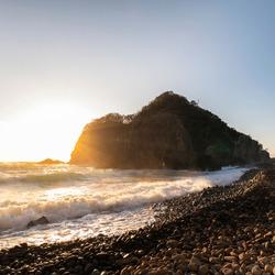 Sea stack by the beach in Izu Peninsula, Shizuoka Prefecture, Japan