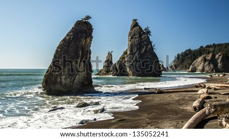 Sea stacks on the wild Rialto beach, Olympic National Park
