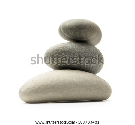 Sea stones on white background