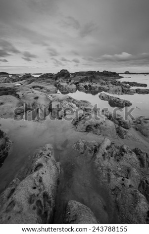 Sea stones textured and patterns.  Black and white photography.