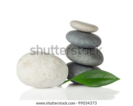 Sea stones with leaf isolated on white background Foto stock ©
