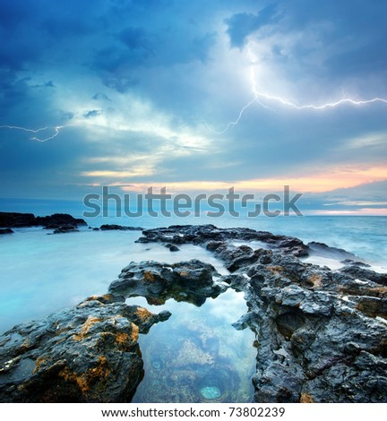 Sea storm. Composition of nature.