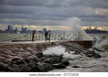 Sea storm in Tallinn city, Estonia