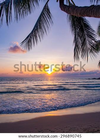Sea sunrise in Chaweng beach Koh Samui island, Thailand. #296890745