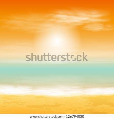 Sea sunset. Raster version of the loaded vector.