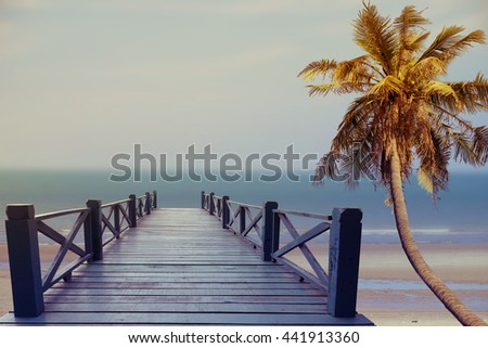 Sea travel in the holidays, Beach on the tropical island - Vintage effect filter style pictures. stock photo