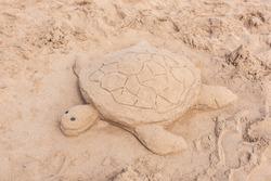 Sea Turtle sand sculpture on the beach