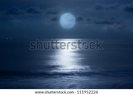 Sea under the moonlight