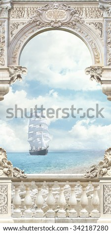 stock photo sea view 342187280 - Каталог — Фотообои «Балконы, арки»