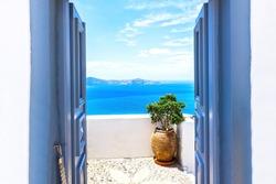Sea view and architecture in Thira, Santorini, Greece