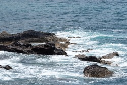 Sea view and volcanic stone coast on the island of Lanzarote, canary islands, spain