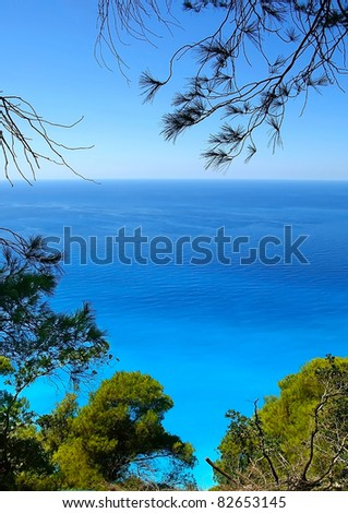 Sea view framed by trees, Ionian Islands Greece