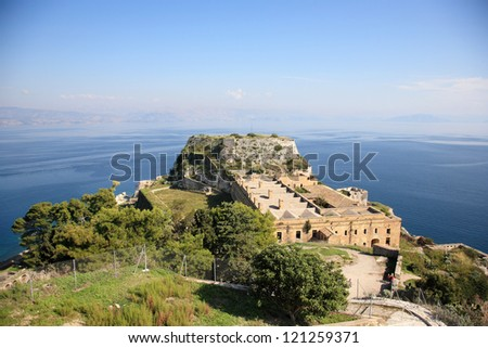 sea view from an old fort in corfu greece