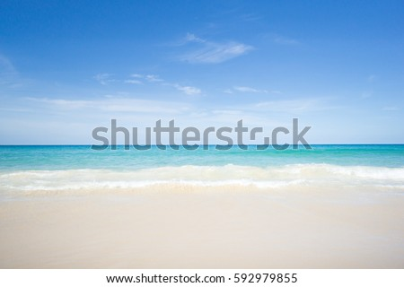 Sea view from tropical beach with sunny sky.Summer paradise beach of Phuket island.Exotic summer with clouds on horizon. #592979855