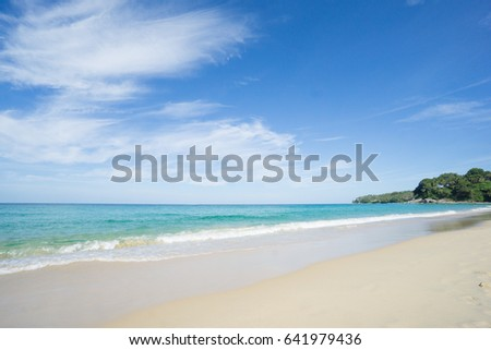 Sea view from tropical beach with sunny sky.Summer paradise beach of Phuket island. Tropical shore.Tropical sea in Puhket.Exotic summer beach with clouds on horizon.Ocean beach relax, outdoor travel #641979436