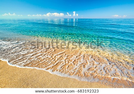 Sea view from tropical beach with sunny sky. Summer paradise beach. Tropical shore. Tropical sea. Exotic summer beach with clouds on horizon. Ocean beach relax, outdoor travel #683192323