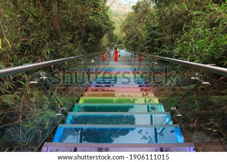 Sea view glass trestle building scenery, Sanya City, Hainan Province, China Stockfoto ©