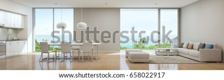 Sea view kitchen, dining and living room of luxury beach house in modern design, Vacation home for big family - Interior 3d rendering
