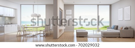 Sea view kitchen, dining and living room of luxury beach house in modern design. Vacation home for big family - Interior 3d rendering