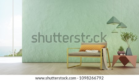 Sea view living room of luxury summer beach house with glass window and wooden floor. Empty rough turquoise concrete wall background in vacation home or holiday villa. Hotel interior 3d illustration.