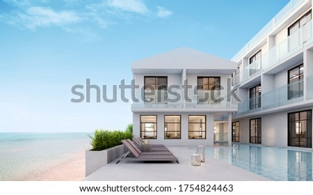 Sea view.Luxury modern white beach hotel with swimming pool.Sunbed on sundeck for vacation home or hotel.3d rendering Foto stock ©