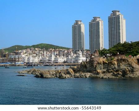 sea view of China Dalian city with  skyscraper   modern building