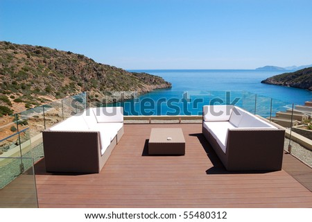 Sea view relaxation area of luxury hotel, Crete, Greece