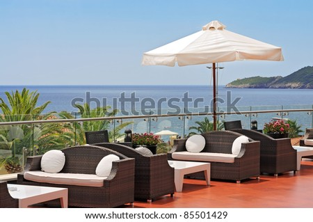 Sea view terrace of the luxury hotel