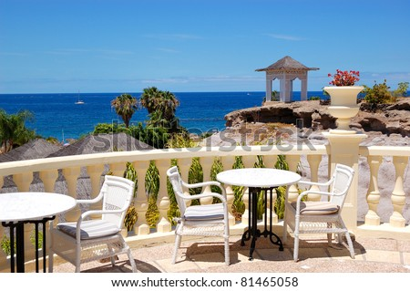 Sea view terrace of the luxury hotel's restaurant, Tenerife island, Spain