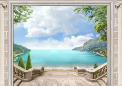 sea view through the arch