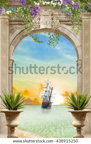 stock photo sea view through the arch sunset 438915250 - Каталог — Фотообои «Балконы, арки»