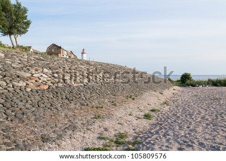 Sea wall of Urk, a fishing village in the Netherlands