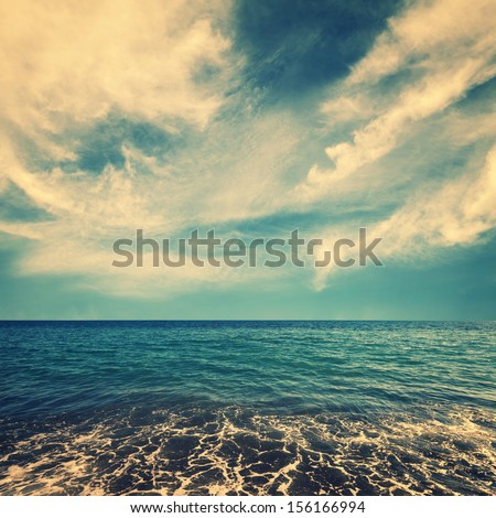 sea water and beautiful clouds on sky, retro colors #156166994