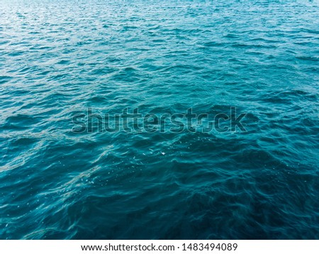 Sea water with small waves on a summer sunny day. Background image. #1483494089