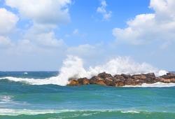 Sea wave and blue sky