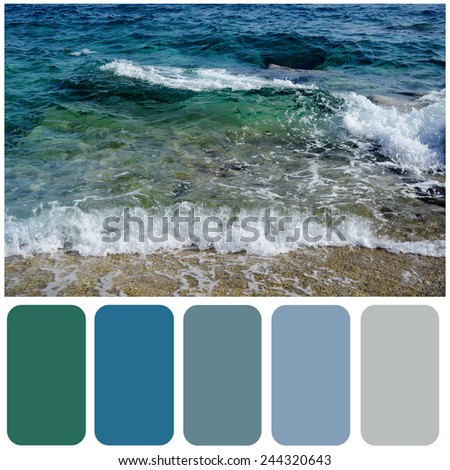 Sea wave and sandy beach background colour palette with color swatch