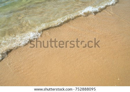 Sea wave and seaside on the sand beach #752888095