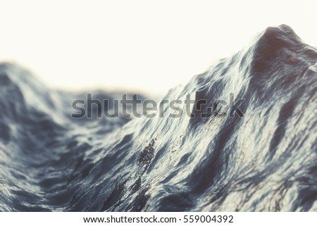 Sea wave close-up, low angle view with bokeh effects. 3d rendering