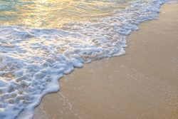 Sea wave on white sand beach summer vacation background