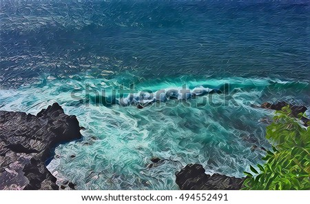 Sea wave over stones. Black rocks beach with high tide. Sea landscape digital illustration. Bright blue seawater with waves and foam. Exotic holiday and travel image. Volcanic island sea view #494552491