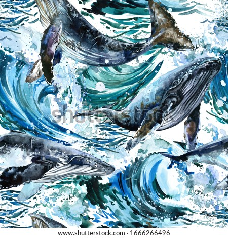 sea wave seamless pattern. Whale illustration. Ocean surf waves watercolor background. Marine design.
