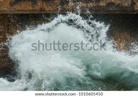 Sea wave. Water splashes. Drops of sea water #1010605450