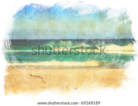 sea waves and blue sky in a style of a old painting on grunge canvas with rough edges.