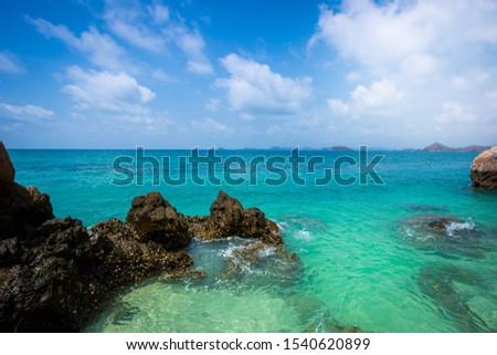 Sea waves and coast. ocean waves splash on rocks and blue sky. Nature landscape,Sea, Beach, Horizon, Horizon Over Water, Liquid #1540620899