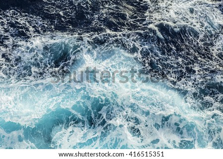Sea waves and foam from a cruise ship #416515351