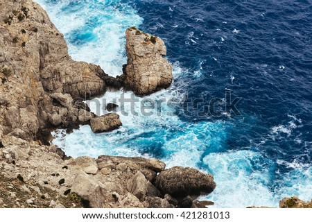 stock photo sea waves breaking on a rocks in majorca deep blue sea waves hit cliff sea waves hit rocks cliff 421281013 - Каталог — Фотообои «Море, пляж»